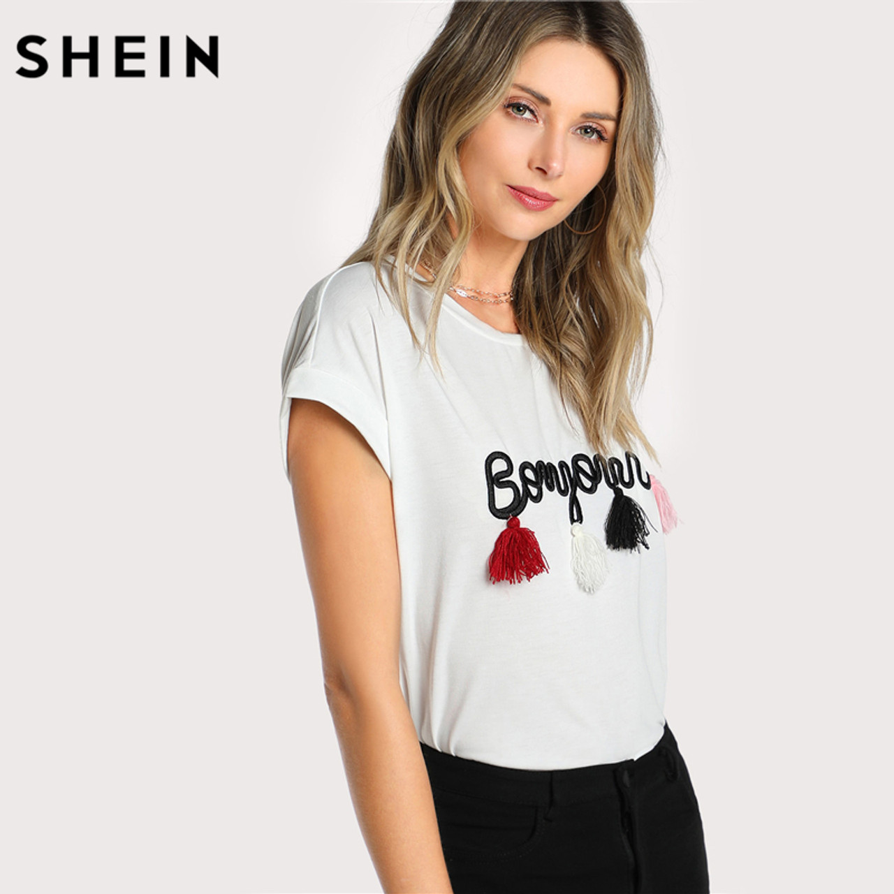 43f4b6b749 ... SHEIN T shirt Women Tops Summer O-neck T shirt Batwing Sleeve Tassel  Detail Embroidery ...