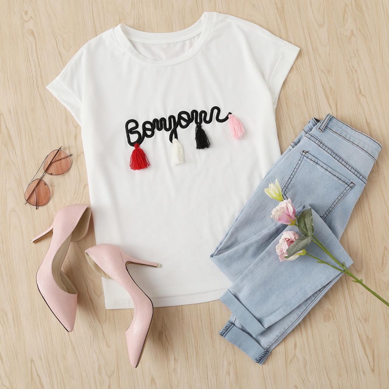 f15653245 ... SHEIN T shirt Women Tops Summer O-neck T shirt Batwing Sleeve Tassel  Detail Embroidery ...