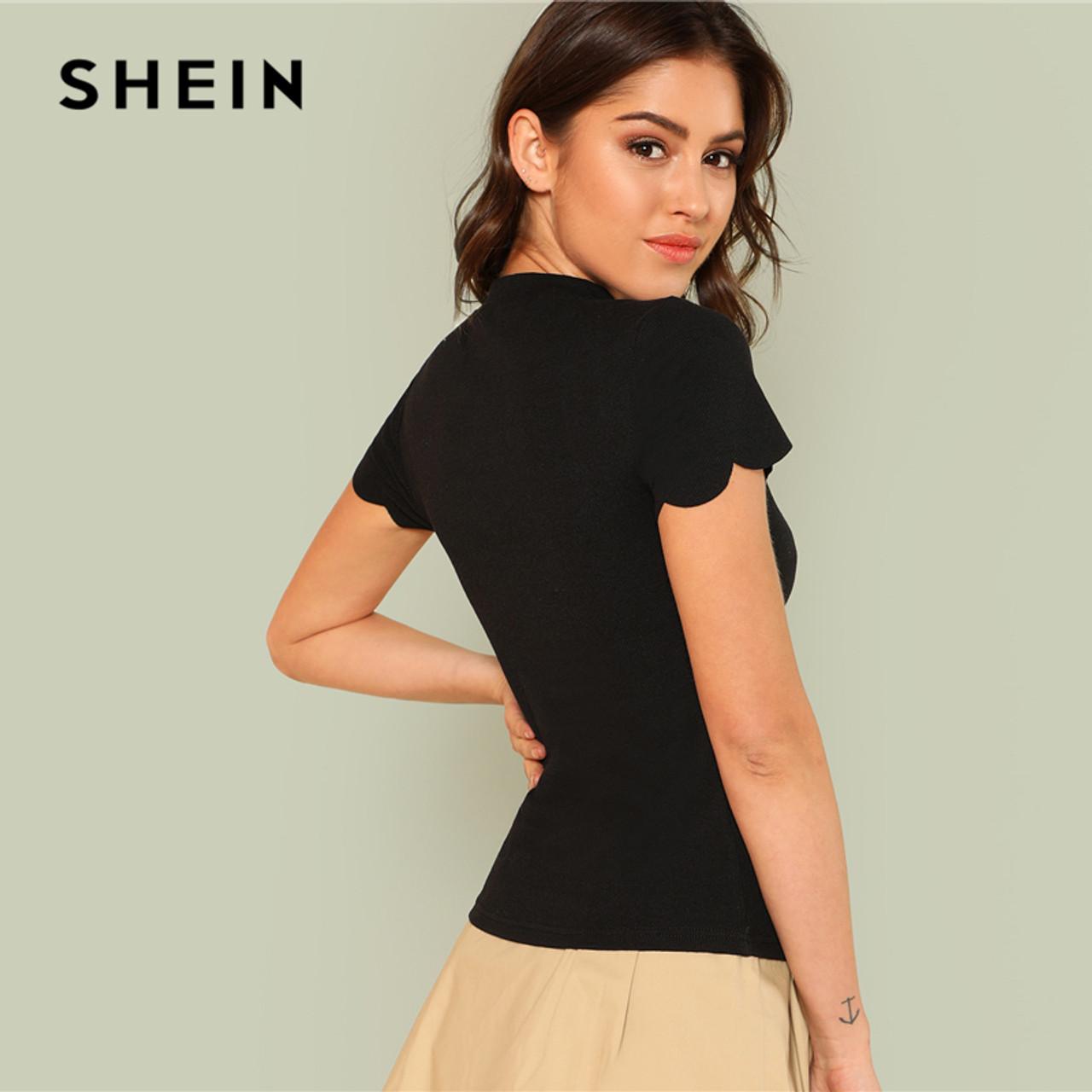 279fd6bc87 ... SHEIN Mock Neck Scallop Trim Tee 2018 Summer Fashion Short Sleeve V Neck  Lace Top Women ...