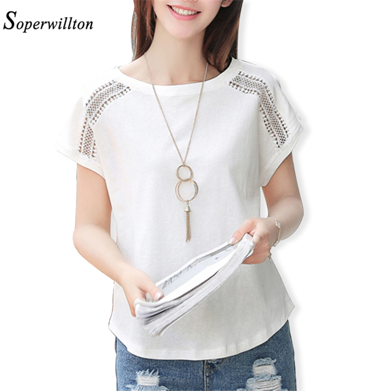 bf07dbc4d80 ... Summer Solim Casual T Shirt Women 2018 Hollow Out Lace Sleeve Kawaii T- Shirt For ...