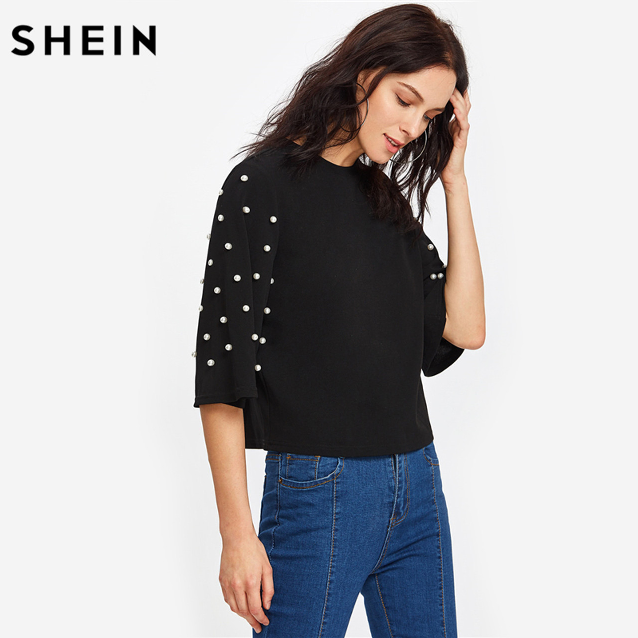 7a76794ff2 ... SHEIN Pearl Embellished Fluted Sleeve Tee Casual Women T shirt Autumn  Elegant Tops Black Half Sleeve ...