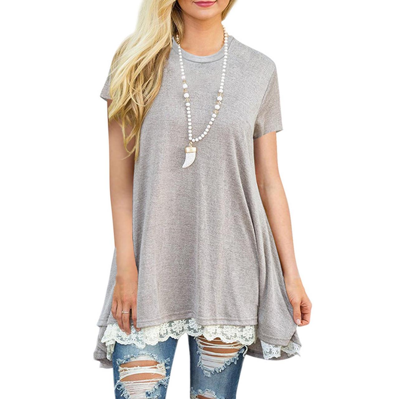 f5779498e606e Patchwork Lace Loose Long T Shirt Women Top Tee Shirt Femme 2018 Spring  Summer Casual Short ...