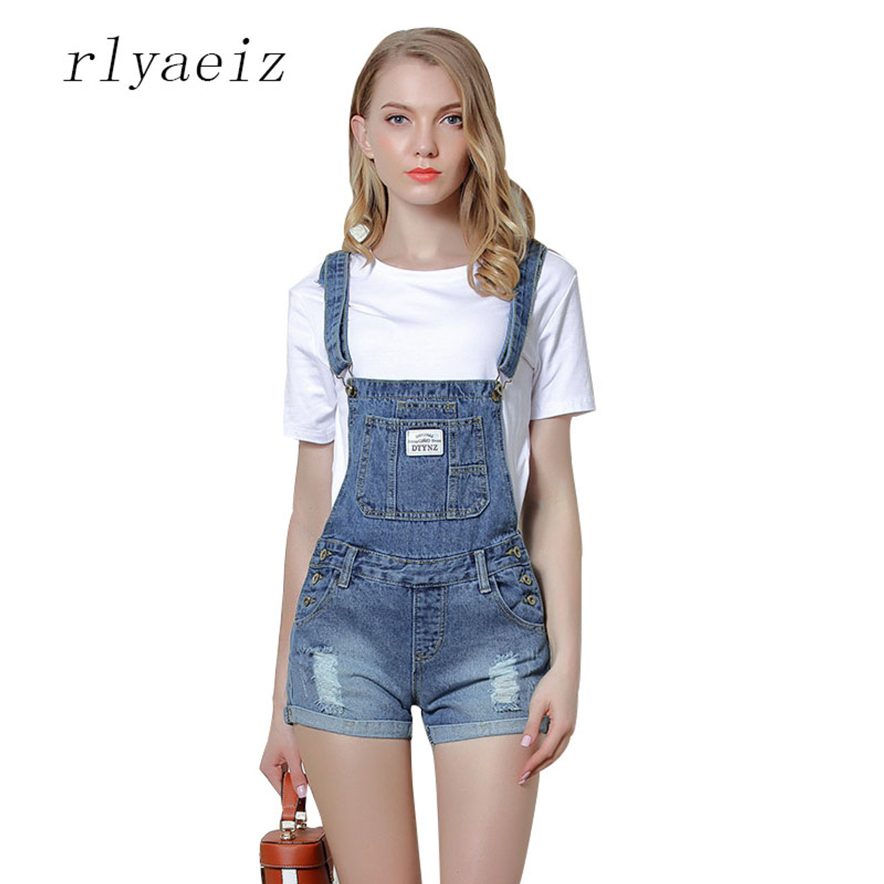 Rlyaeiz Rompers Womens Jumpsuit Body Feminino Suspender Jeans