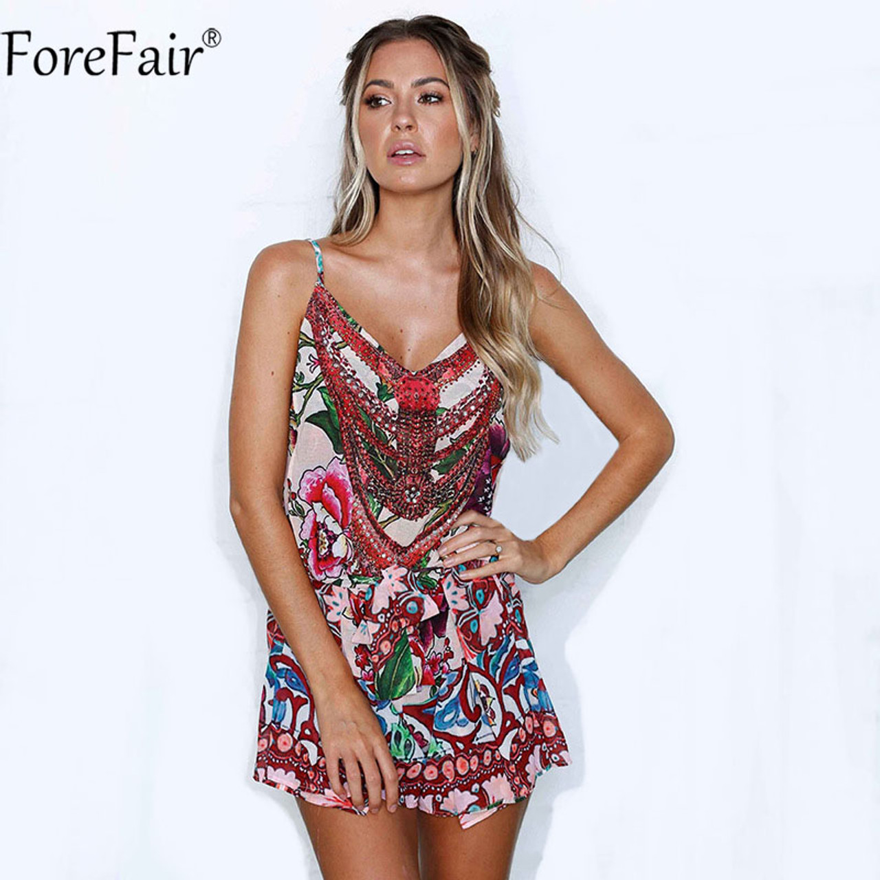 770f498d0a33 ForeFair Backless Strap Floral Print V Neck Vintage Playsuits Casual Summer  Rompers women jumpsuit ...