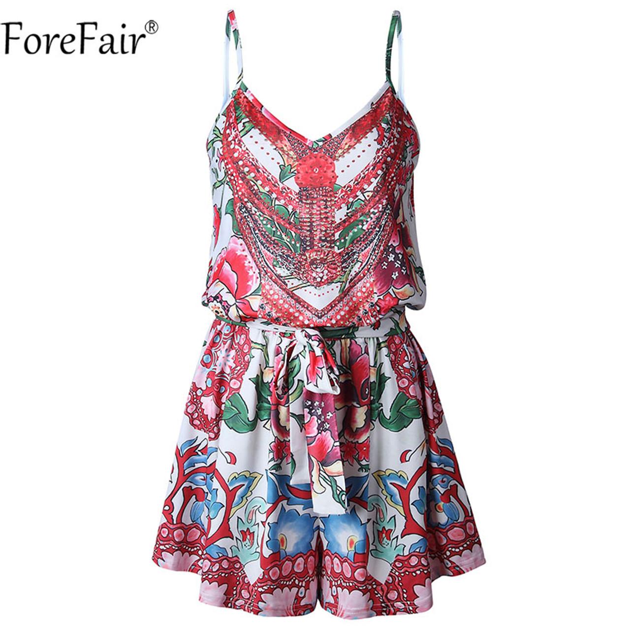 cada4641413f ... ForeFair Backless Strap Floral Print V Neck Vintage Playsuits Casual  Summer Rompers women jumpsuit ...