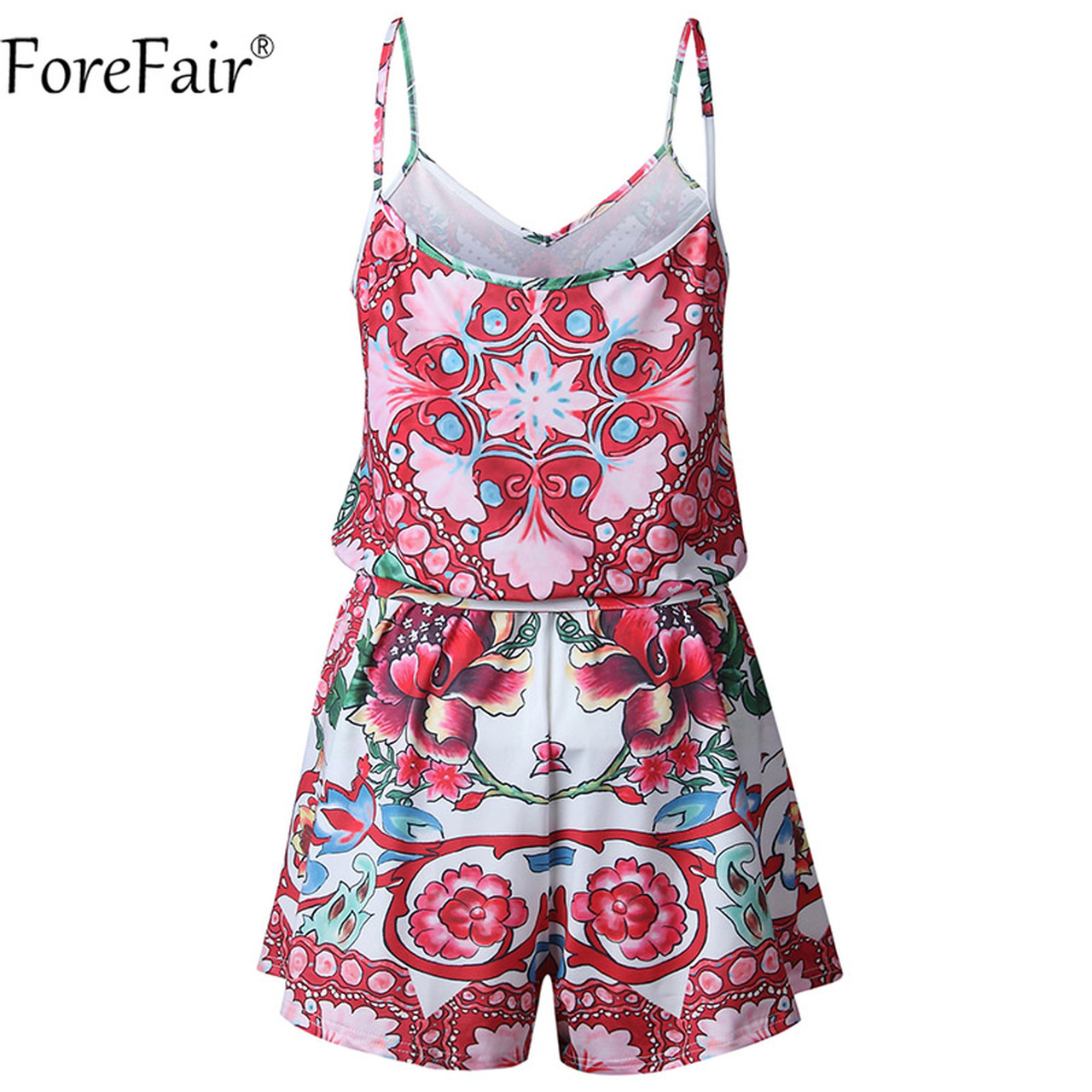 1f237bef23 ... ForeFair Backless Strap Floral Print V Neck Vintage Playsuits Casual  Summer Rompers women jumpsuit ...