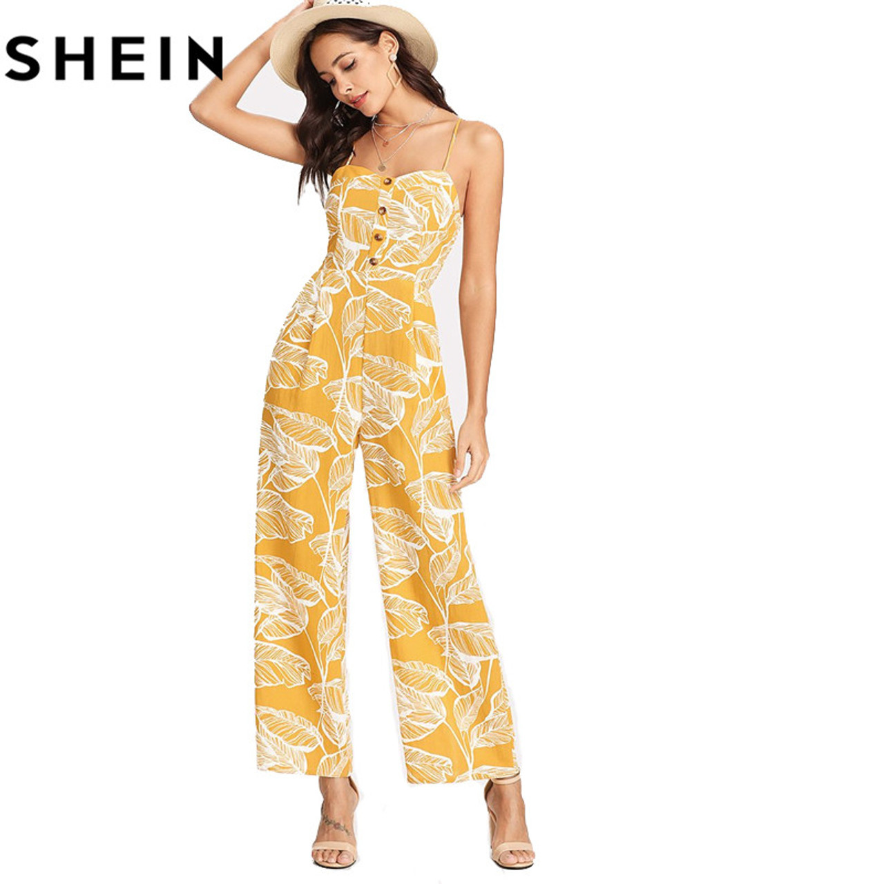 d6ccf681786 ... SHEIN Summer Vacation 2018 Spaghetti Strap Boho High Waist Tropical  Palm Leaf Print Shirred Wide Leg ...
