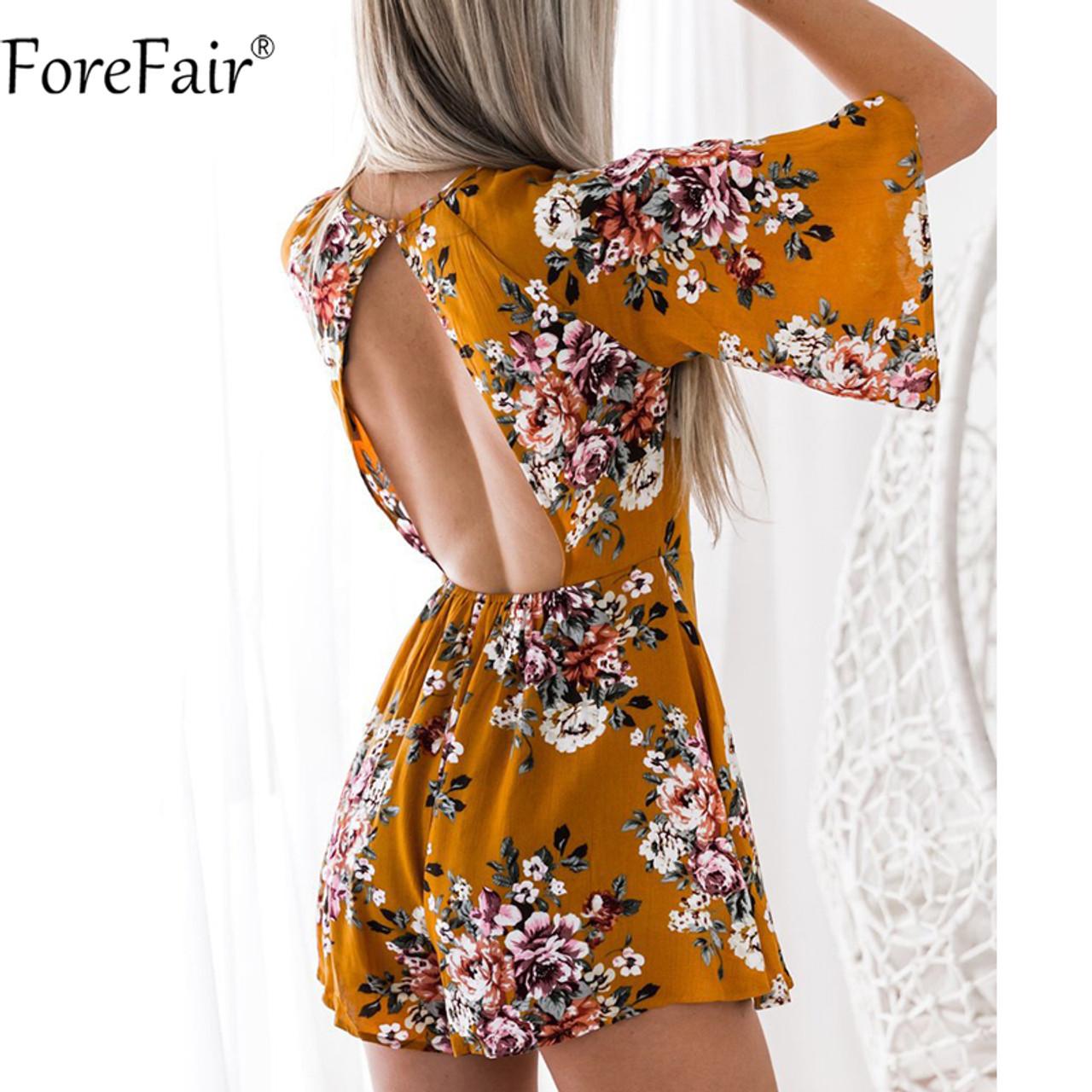 38039807122c ForeFair Sexy Open Back Half Flare Sleeve Chiffon Playsuit Floral Print  Empire Elegant Romper Women jumpsuits ...