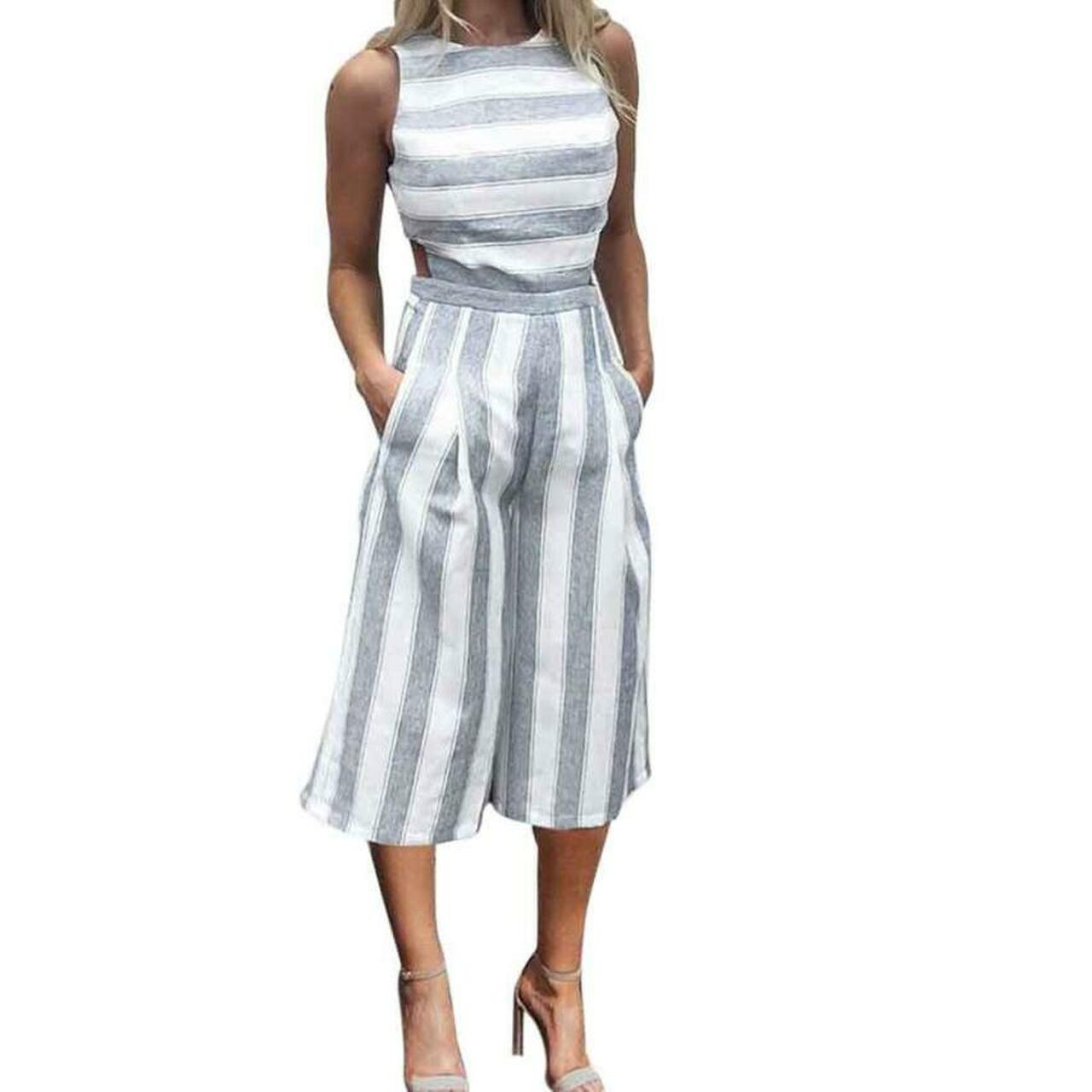2299c113bf7 ... 2017 Women s Sleeveless Striped Jumpsuit Casual Loose Trousers  Fashionable Leotard Catsuit Combinaison Wide Leg Pants ...