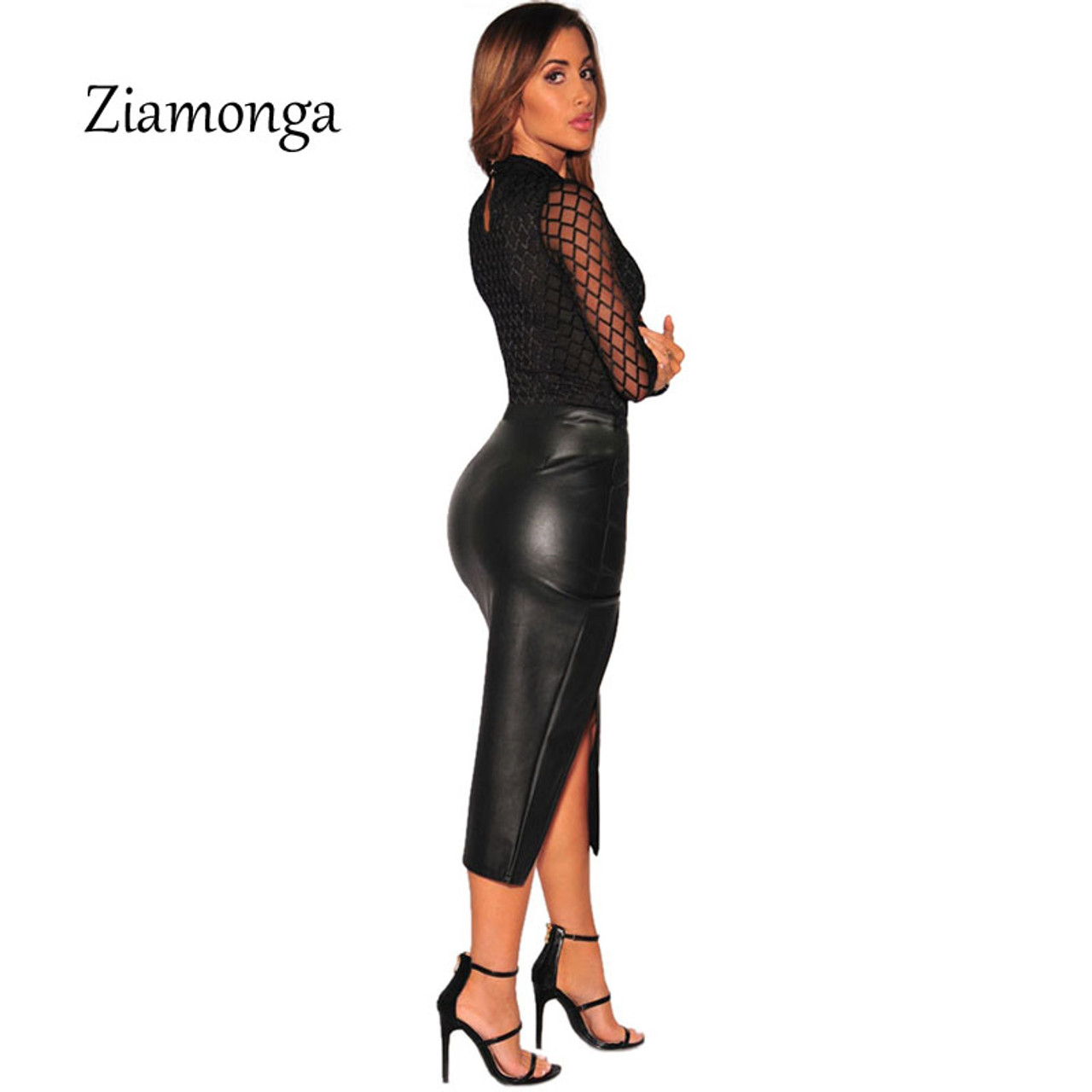 04b2982ad3c ... Ziamonga 2017 Brand Sexy Bodysuit Jumpsuit Romper Women Black White Hollow  Long Sleeve Mesh Bodycon Jumpsuits ...