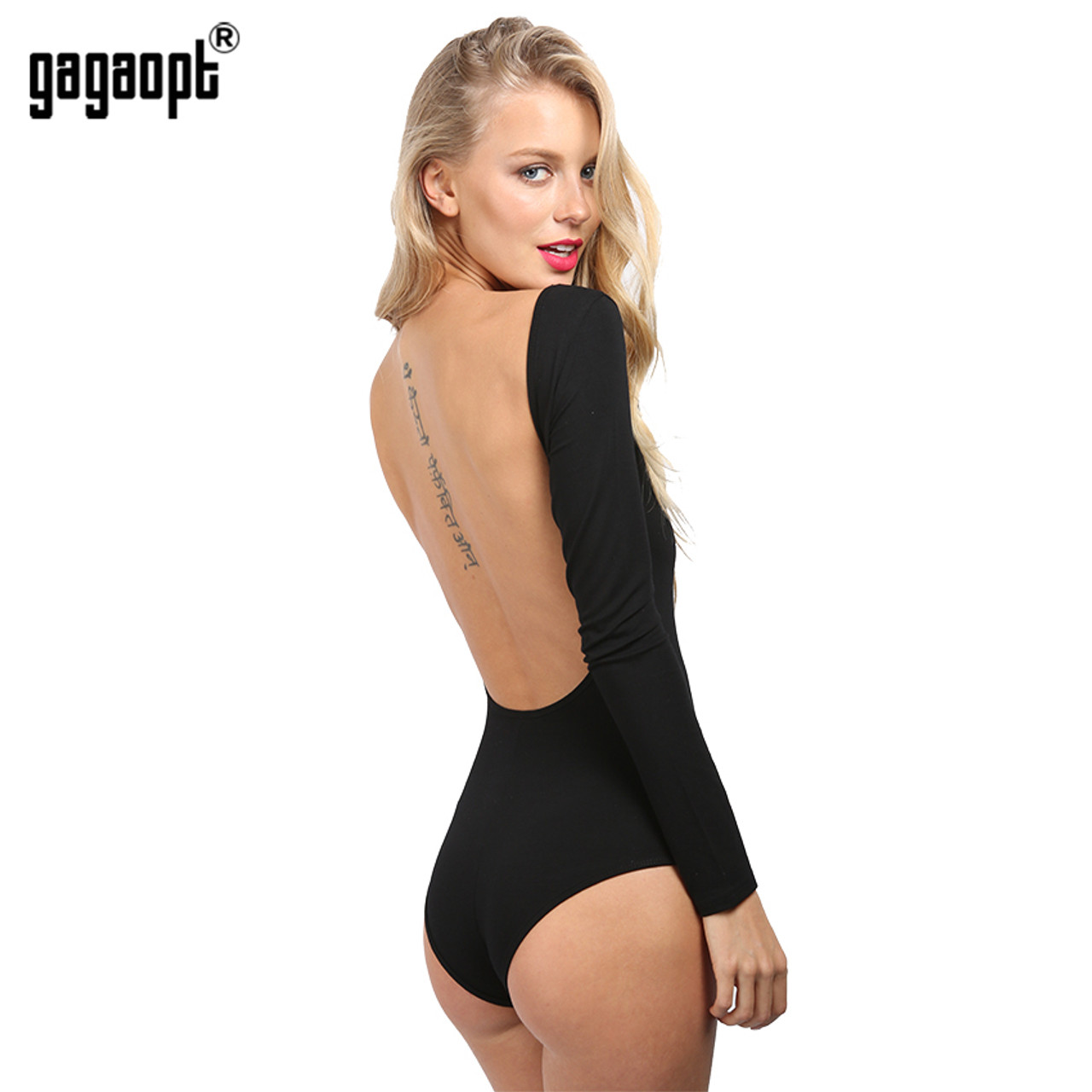 313dcc28 Gagaopt Backless Bodysuit Long Sleeve Sexy Bodysuit Black Summer Overalls  Body for women Combinaison Femme Blusa ...