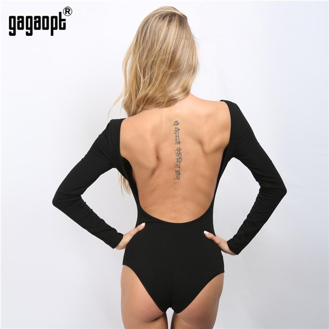 b258e3d7 ... Gagaopt Backless Bodysuit Long Sleeve Sexy Bodysuit Black Summer  Overalls Body for women Combinaison Femme Blusa ...