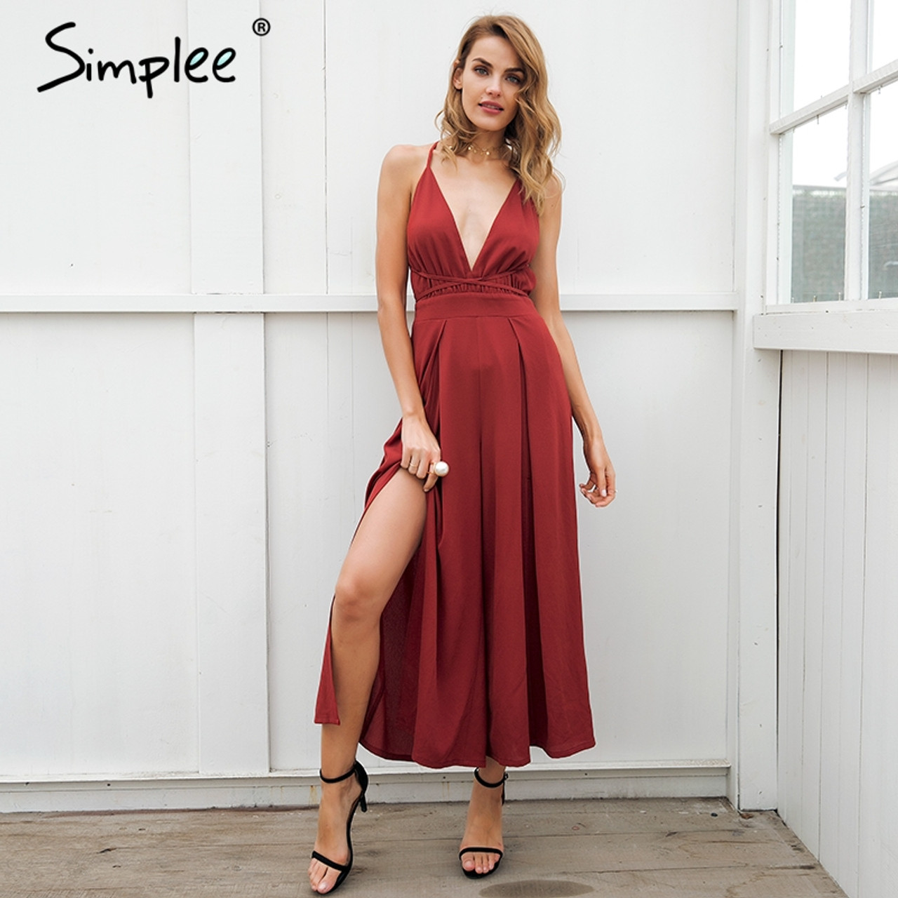 4c6093583e83 Simplee Sexy v neck backless print jumpsuit romper women Lace up halter  high waist short overalls ...