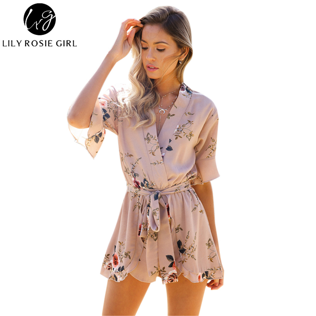 a792846e3d Boho Red Floral Print Ruffles Playsuits Women Elegant Autumn White V Neck  Jumpsuits Rompers Sexy Beach ...