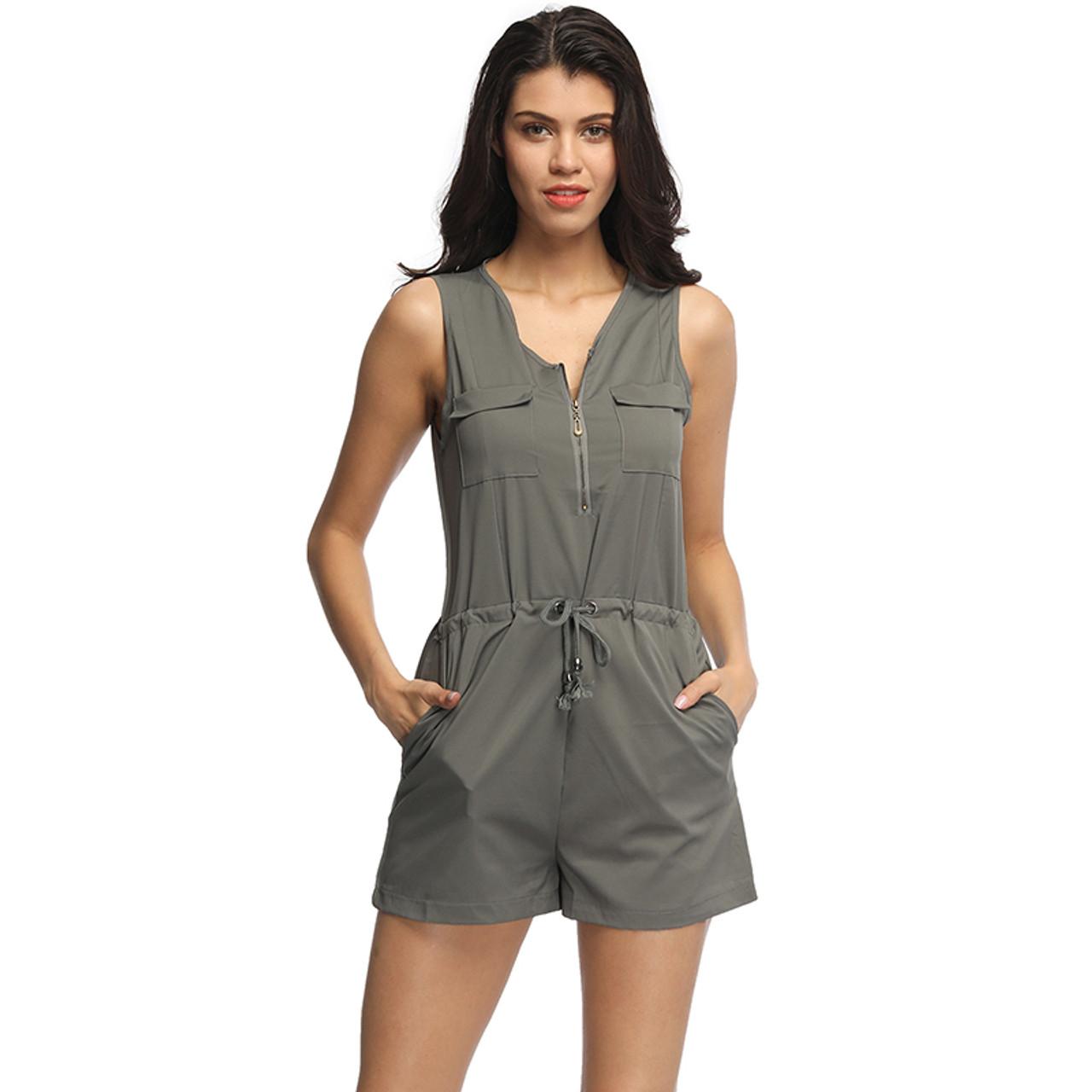 3a9735e1c296 ... Sexy Sleeveless Bodysuit Women Jumpsuit Shorts Romper Summer V-neck  Zipper Pockets Playsuit Fashion Beach ...