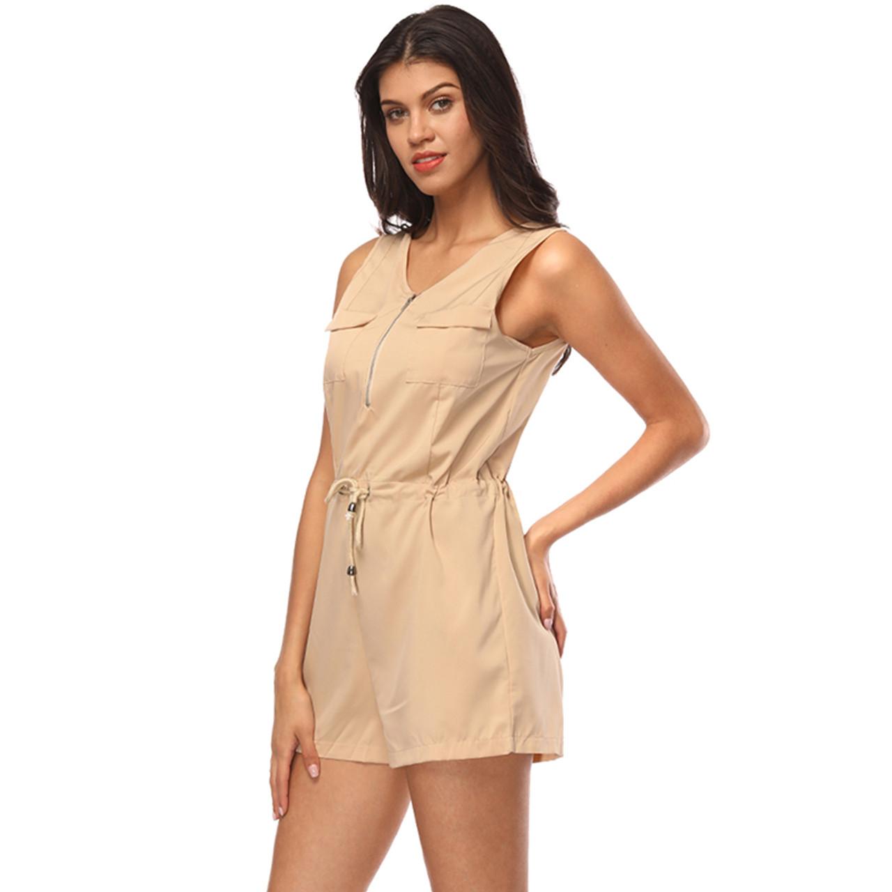 ... Sexy Sleeveless Bodysuit Women Jumpsuit Shorts Romper Summer V-neck  Zipper Pockets Playsuit Fashion Beach ... fac564f5a