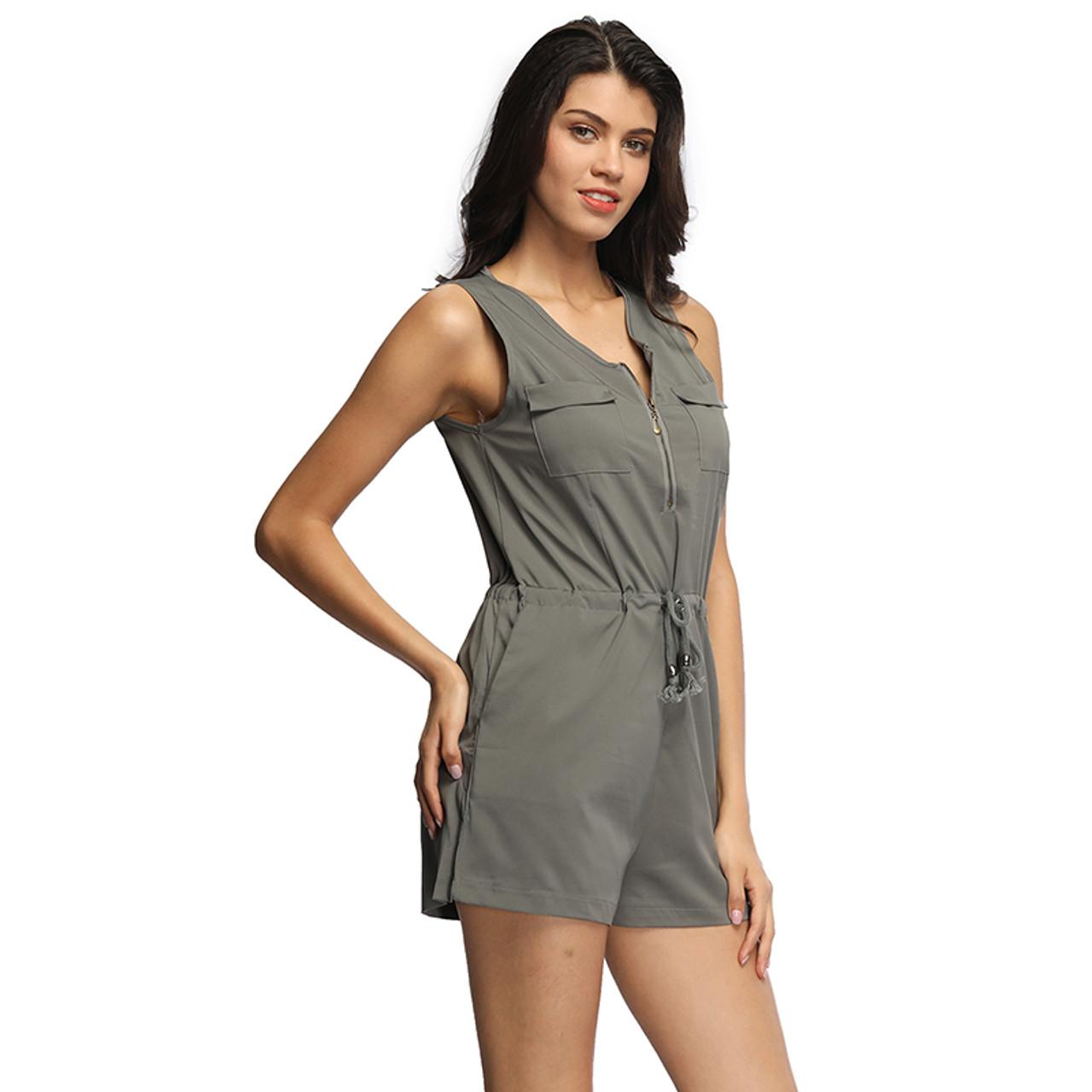 3e15898f74b ... Sexy Sleeveless Bodysuit Women Jumpsuit Shorts Romper Summer V-neck  Zipper Pockets Playsuit Fashion Beach ...