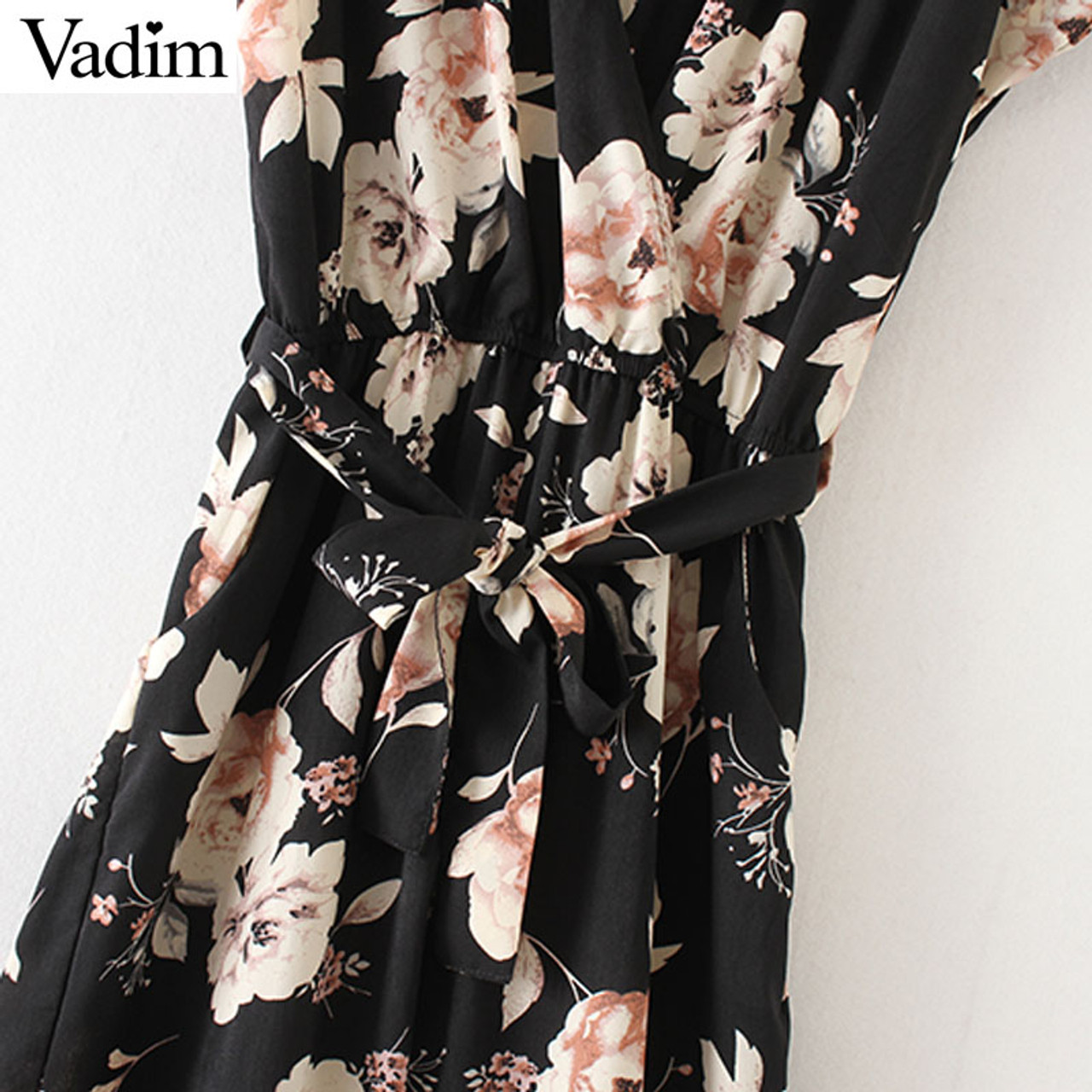 Women Vintage V Neck Floral Jumpsuits Wide Leg Pants Sashes Pleated Elastic Waist Rompers Summer Casual Playsuits