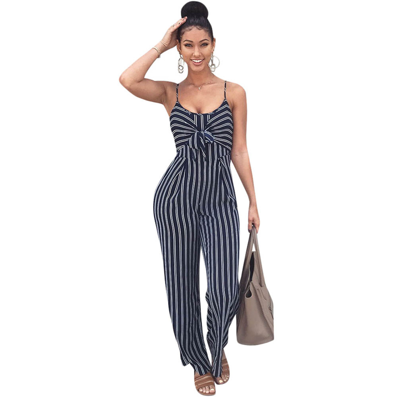Elegant Striped Sexy Spaghetti Strap Rompers Womens Jumpsuit Sleeveless  BacklessBow Casual Wide legs Jumpsuits Leotard Overalls - OnshopDeals.Com 693539011