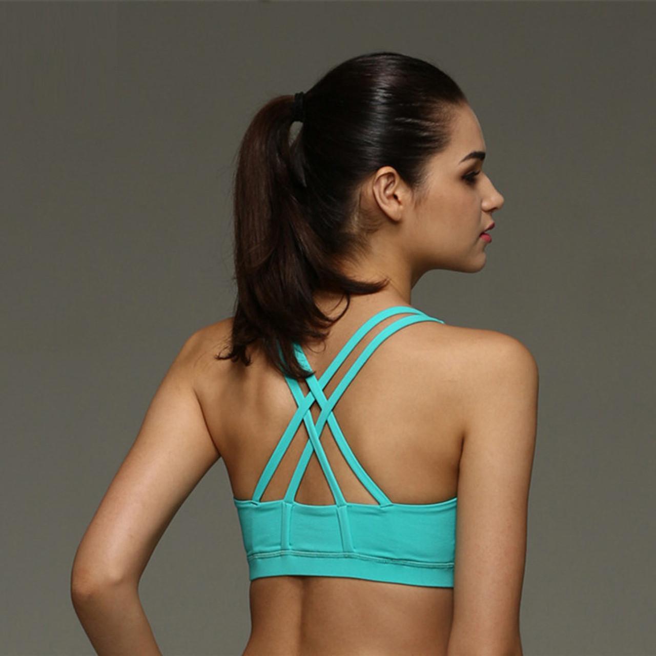 fbca631368c ... Mermaid Curve Sexy Back Cross Shockproof Sports Bras Women Gym Fitness  Seamless Yoga Bra Crop Top ...