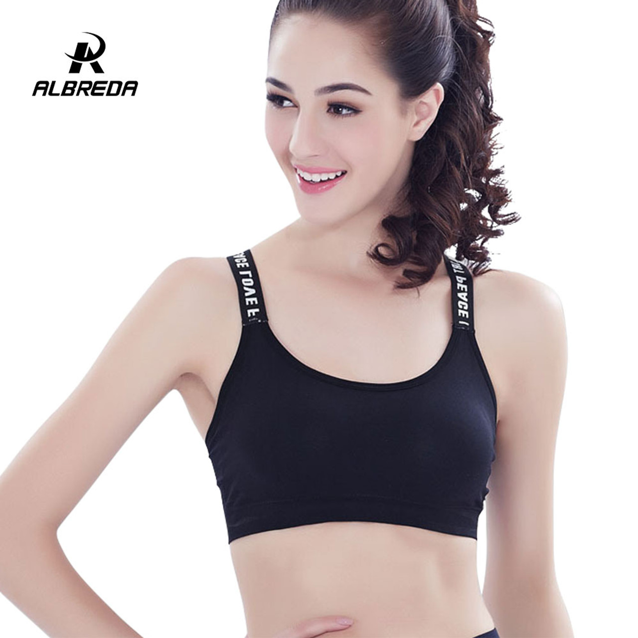 5f29f5775bf74 ... ALBREDA New Style Fitness Women Sports Bra Yoga Padded Crop Top Gym  Workout Sexy bras Running ...