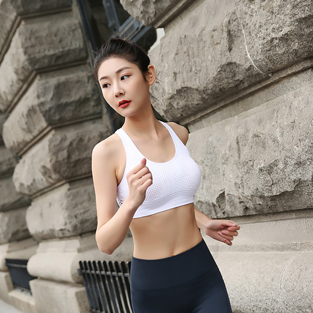 716b37cd504 ... Lucylizz 2018 Mesh Hollow Out Breathable Yoga Bras Sports Bra Fitness  Shockproof Running Underwear Gym Push ...