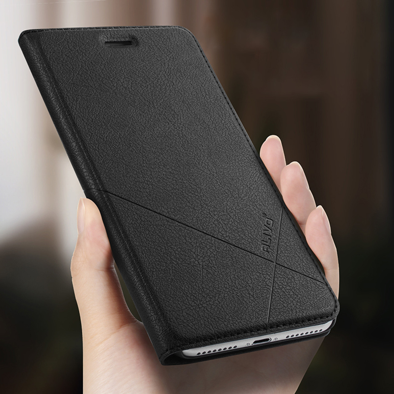 reputable site 3ead2 8466a ALIVO For iPhone 8 8 Plus Case Luxury PU Leather Case for iPhone 7 7 Plus  iphone 6s 6 plus Stand Protective Flip Cover Coque