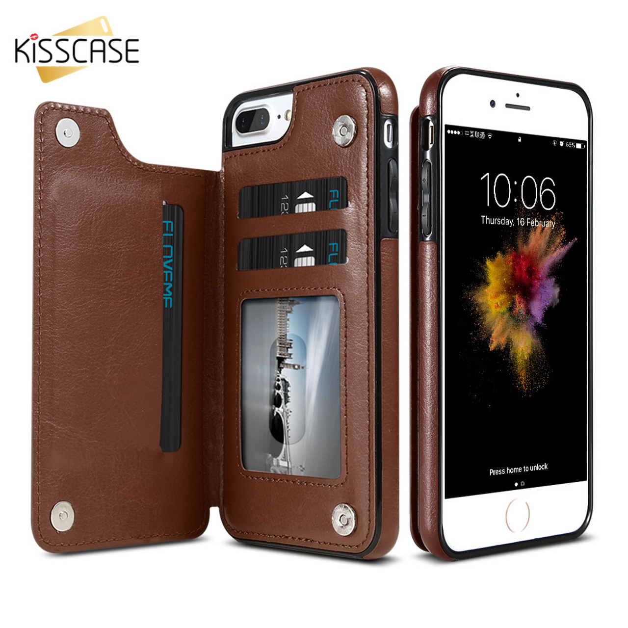 5ac845a4c56e91 ... KISSCASE Retro PU Leather Case For iPhone 6 6s 7 Plus Card Holders  Cases Cover For ...