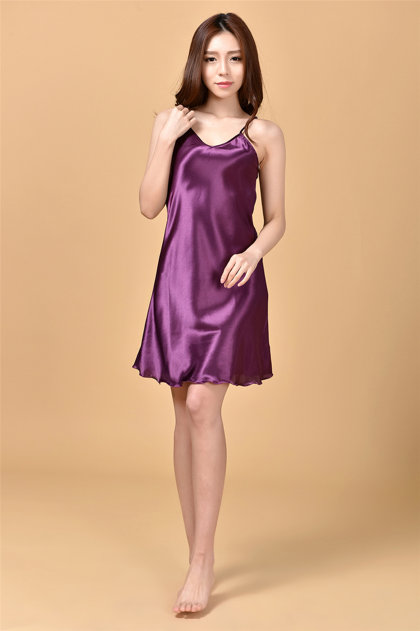 4a30cba568 ... Summer New Women s Sleepwear Female Sexy Spaghetti Strap Nightgown Plus  Size XXXL Rayon Nightdress Short Robe ...