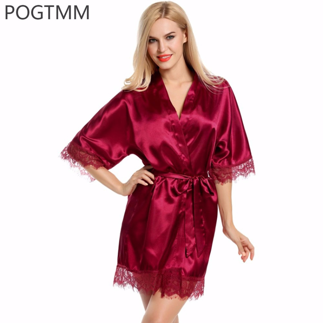 Sexy Wedding Bridal Dressing Gown Women Satin Bride Robe Bridesmaid