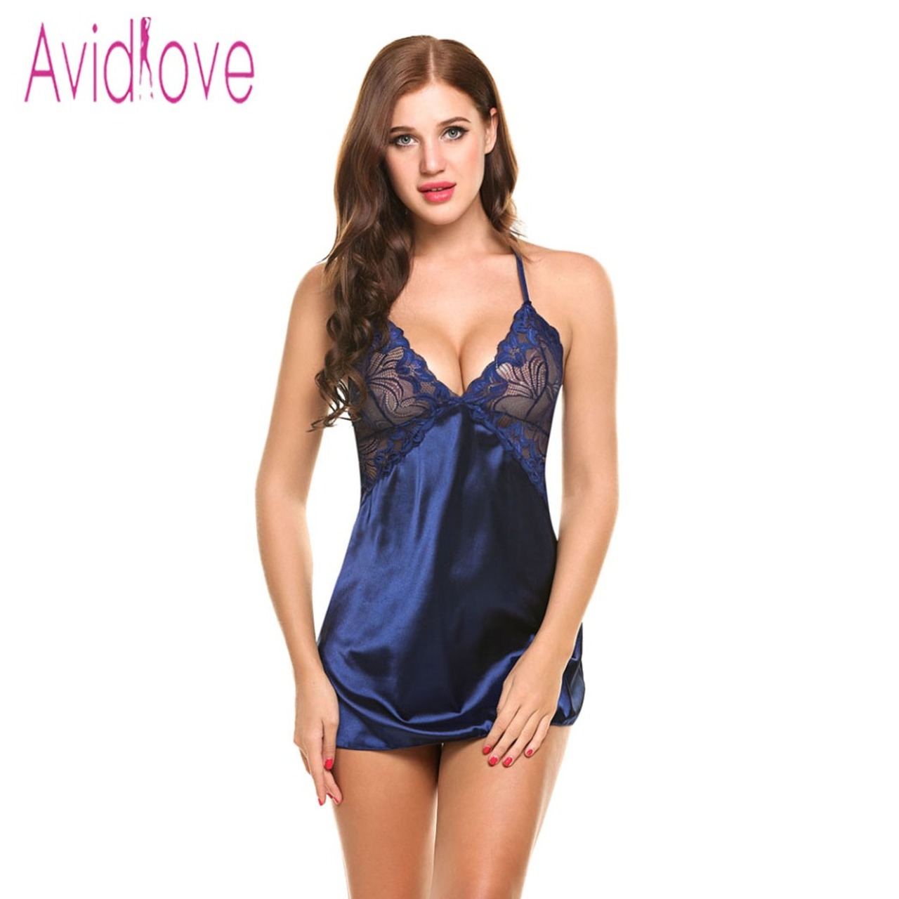 ... Avidlove Sexy Nightgown Lingerie Fashion Patchwork Nightdress Women  Sheer Scalloped Satin Nightwear Silk Slip Sleepwear Chemises ...