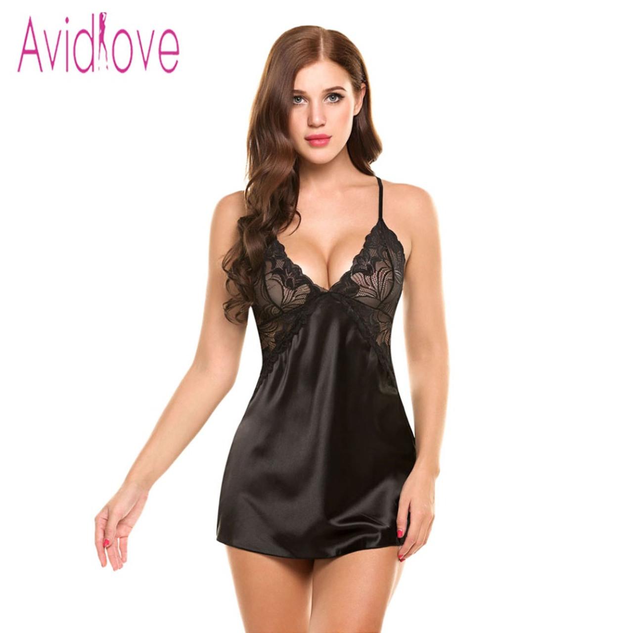 ... Avidlove Sexy Nightgown Lingerie Fashion Patchwork Nightdress Women  Sheer Scalloped Satin Nightwear Silk Slip Sleepwear Chemises ... b77b5659b