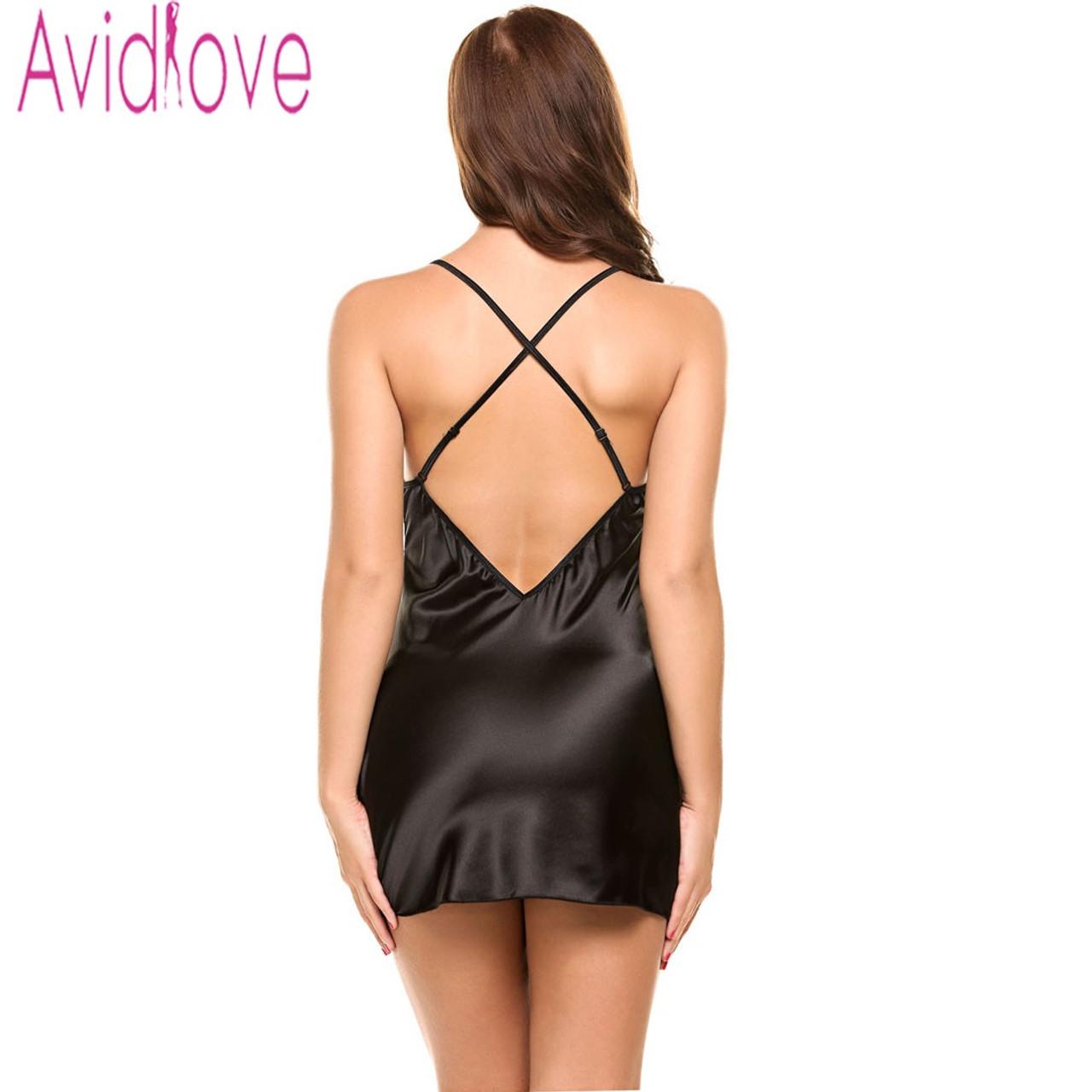 ... Avidlove Sexy Nightgown Lingerie Fashion Patchwork Nightdress Women  Sheer Scalloped Satin Nightwear Silk Slip Sleepwear Chemises 2a009a4b1