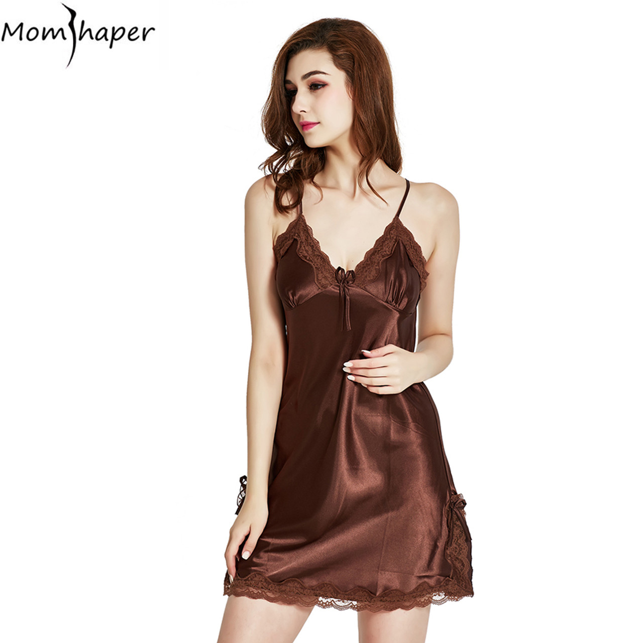 0e76b1dd0cb Sleepwear pyjamas women Home Clothing Nightgowns Lace robe V-neck Nightgown  Silk Satin Night Dress ...