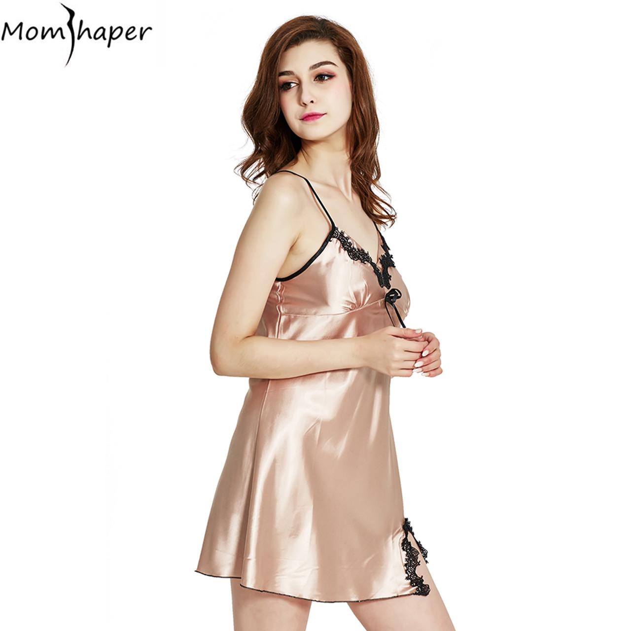 ... Sleepwear pyjamas women Home Clothing Nightgowns Lace robe V-neck  Nightgown Silk Satin Night Dress ... 75a2481dd