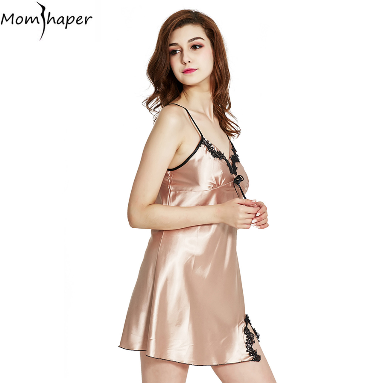 8877838a12 ... Sleepwear pyjamas women Home Clothing Nightgowns Lace robe V-neck  Nightgown Silk Satin Night Dress ...