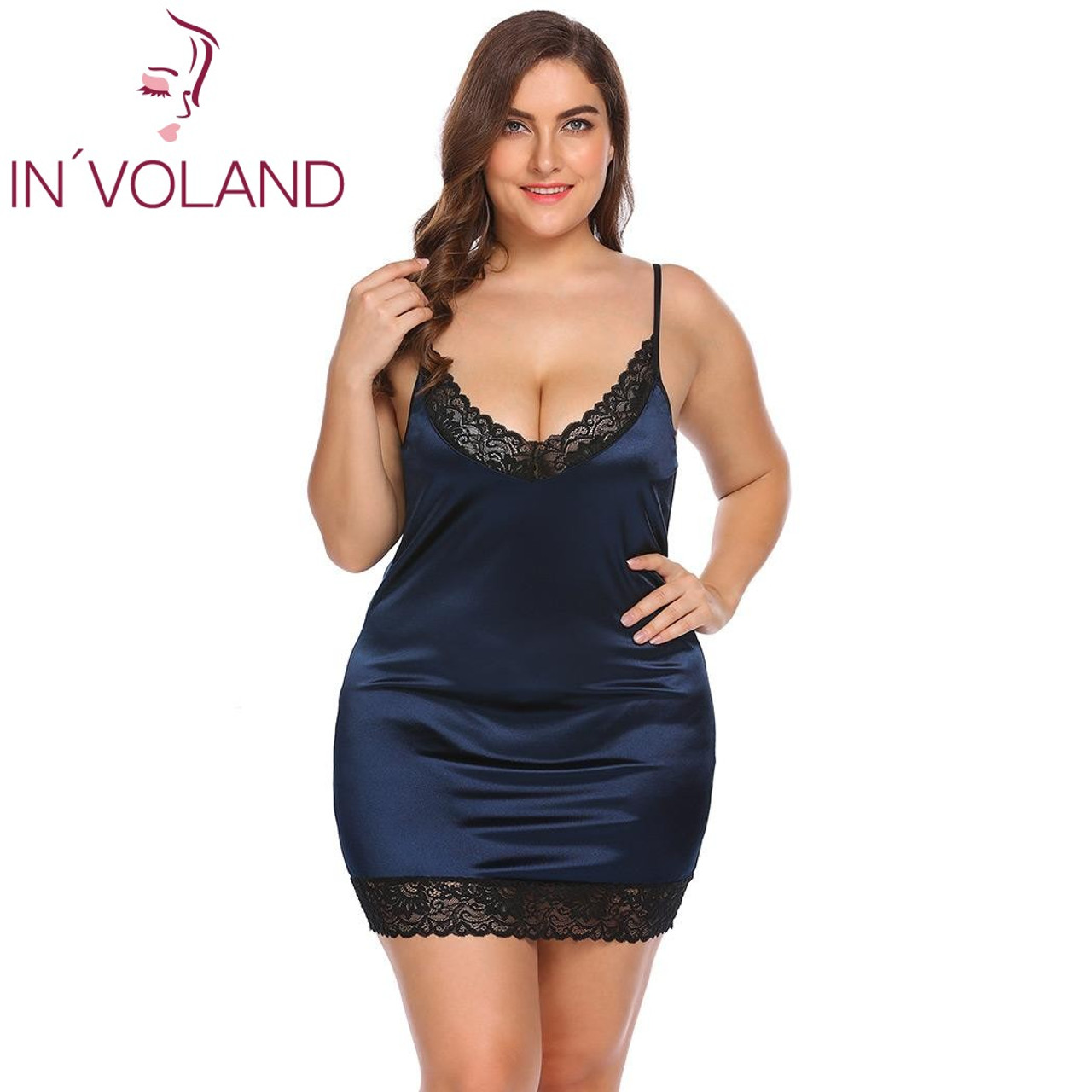 bf4636ac2 ... IN VOLAND Plus Size Women Sleepwear Sexy Lingerie Dress XL-5XL Robe  Night Dress ...