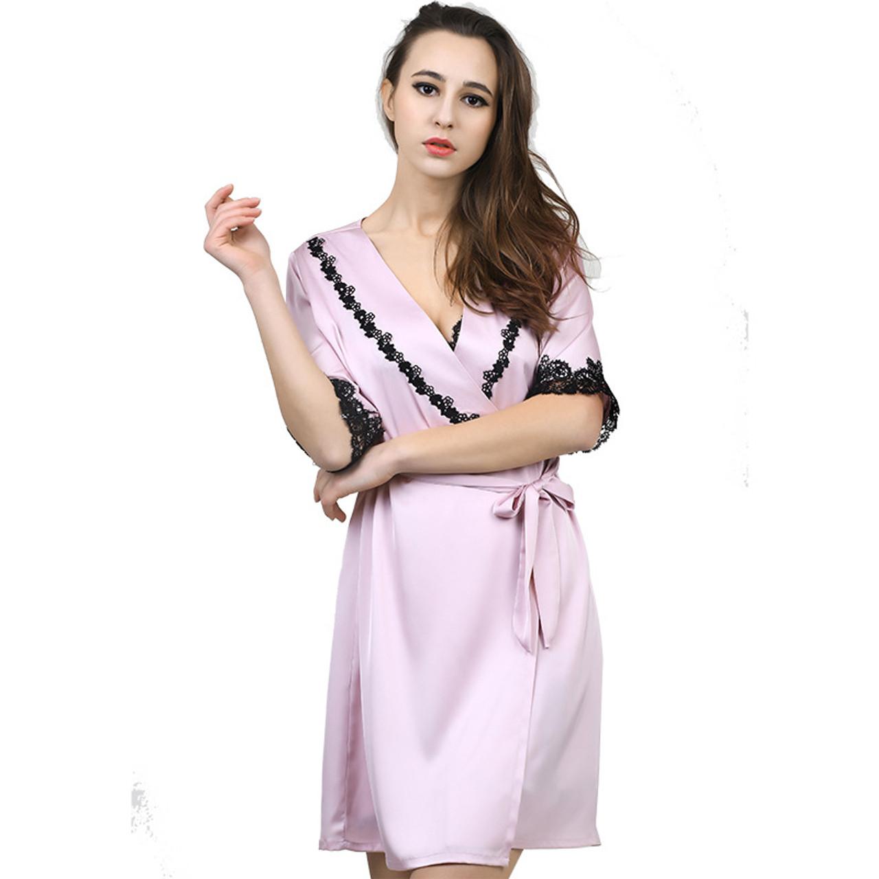 8cd7402d55 ... 1931 Sexy Women Lace Silk Satin Kimono Bathrobe Nightgown robe Sets  Half Sleeve Lingerie Pajamas Sleepwear ...