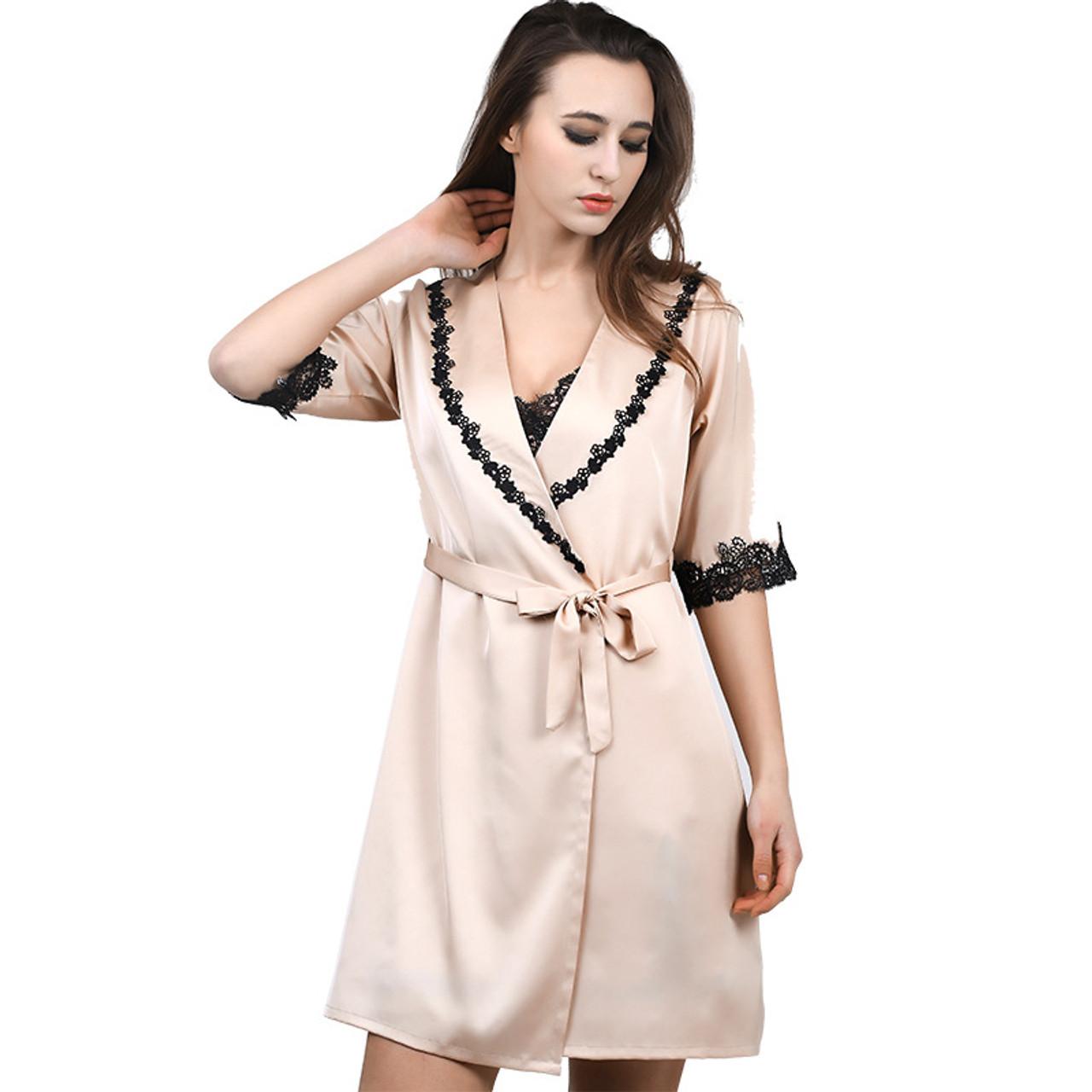 ... 1931 Sexy Women Lace Silk Satin Kimono Bathrobe Nightgown robe Sets  Half Sleeve Lingerie Pajamas Sleepwear ... 5c6c17e1b