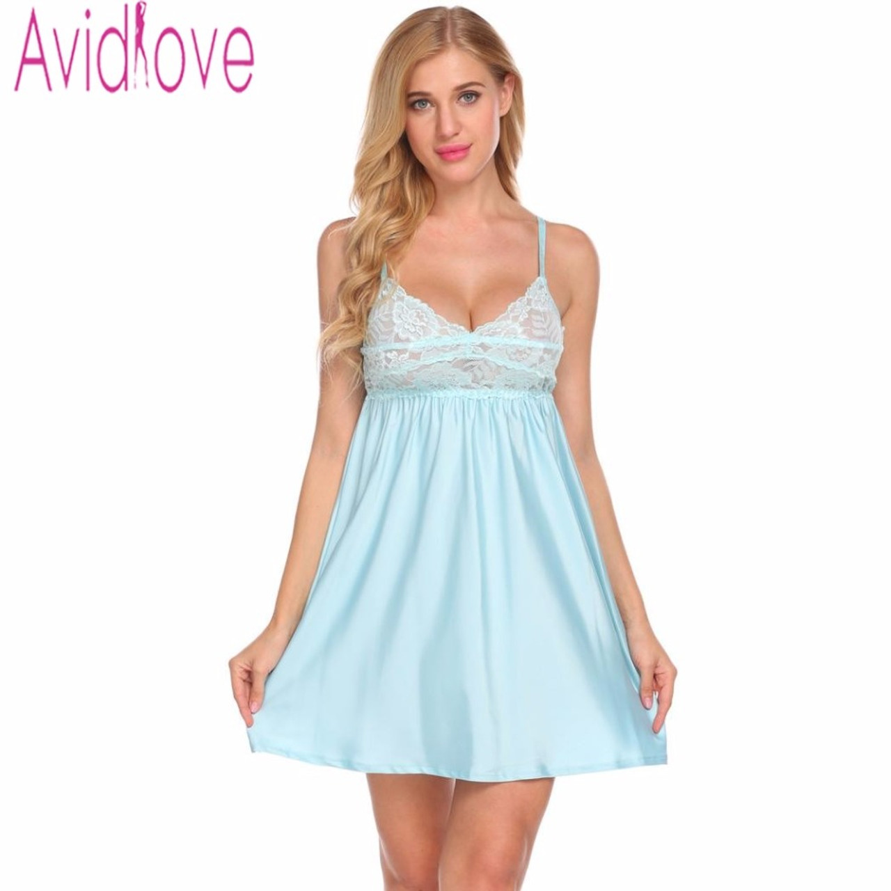 796189b1bfd ... Avidlove Women Sexy Satin Nightdress V Neck Nightgown Female Hollow Out Lace  Sleepwear Nightwear Ladies Sleep ...