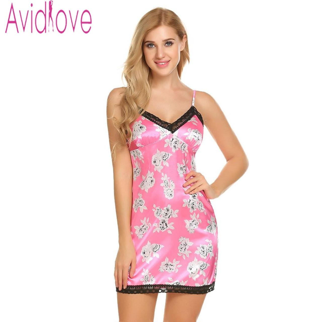 89351ae6fce Avidlove Satin Night Dress Women Nightgown Nightwear Night Shirts Slik  Floral Print Dress Plus Size Sleepshirt ...