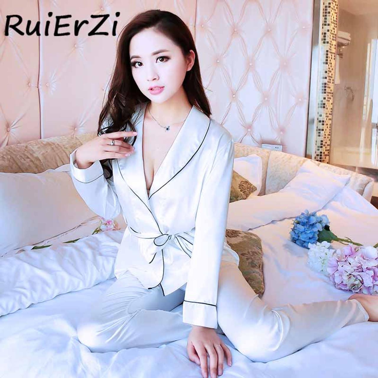 ... Fashion Long Sleeve Silk Pajamas Suit Women Lounge Turn-Down Collar Pajama  Sets Casual Silk ... 81be36245