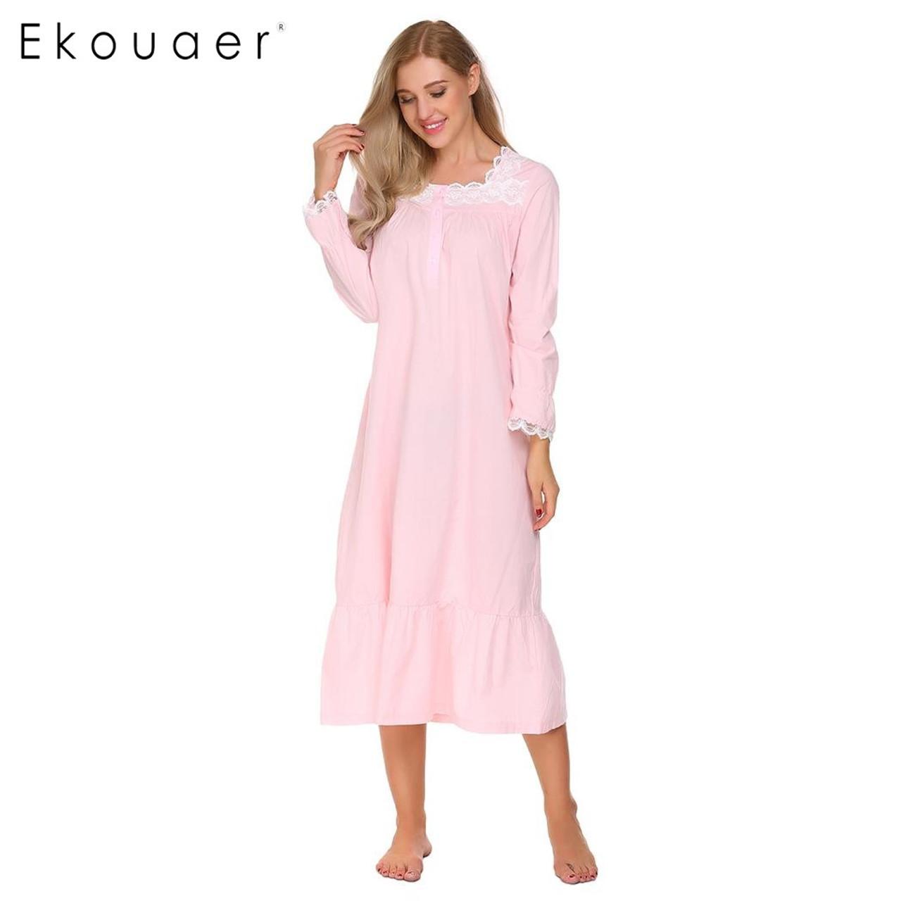 Ekouaer Elegant Solid Nightwear Womens Victorian Long Sleeve Sleepwear Lace  Patchwork Ruffled Hem Nightgown Plus Size - OnshopDeals.Com 69d0c22ed