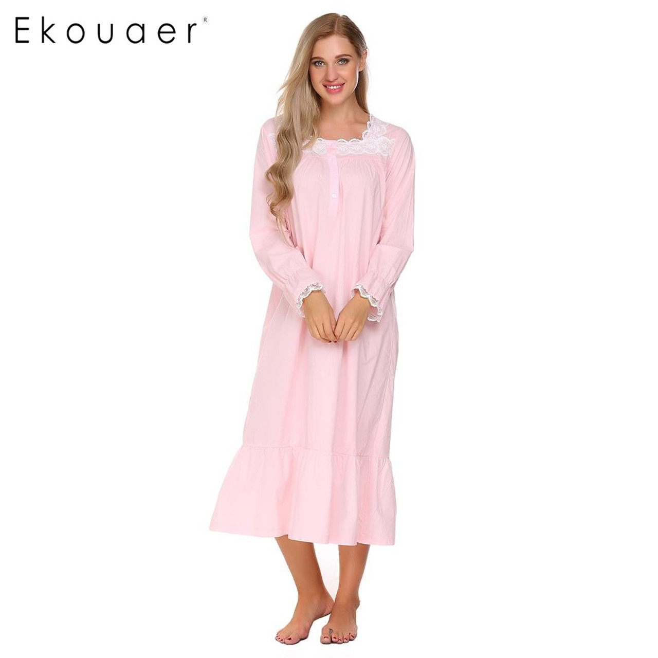 f4d9743468 ... Ekouaer Elegant Solid Nightwear Womens Victorian Long Sleeve Sleepwear  Lace Patchwork Ruffled Hem Nightgown Plus Size ...