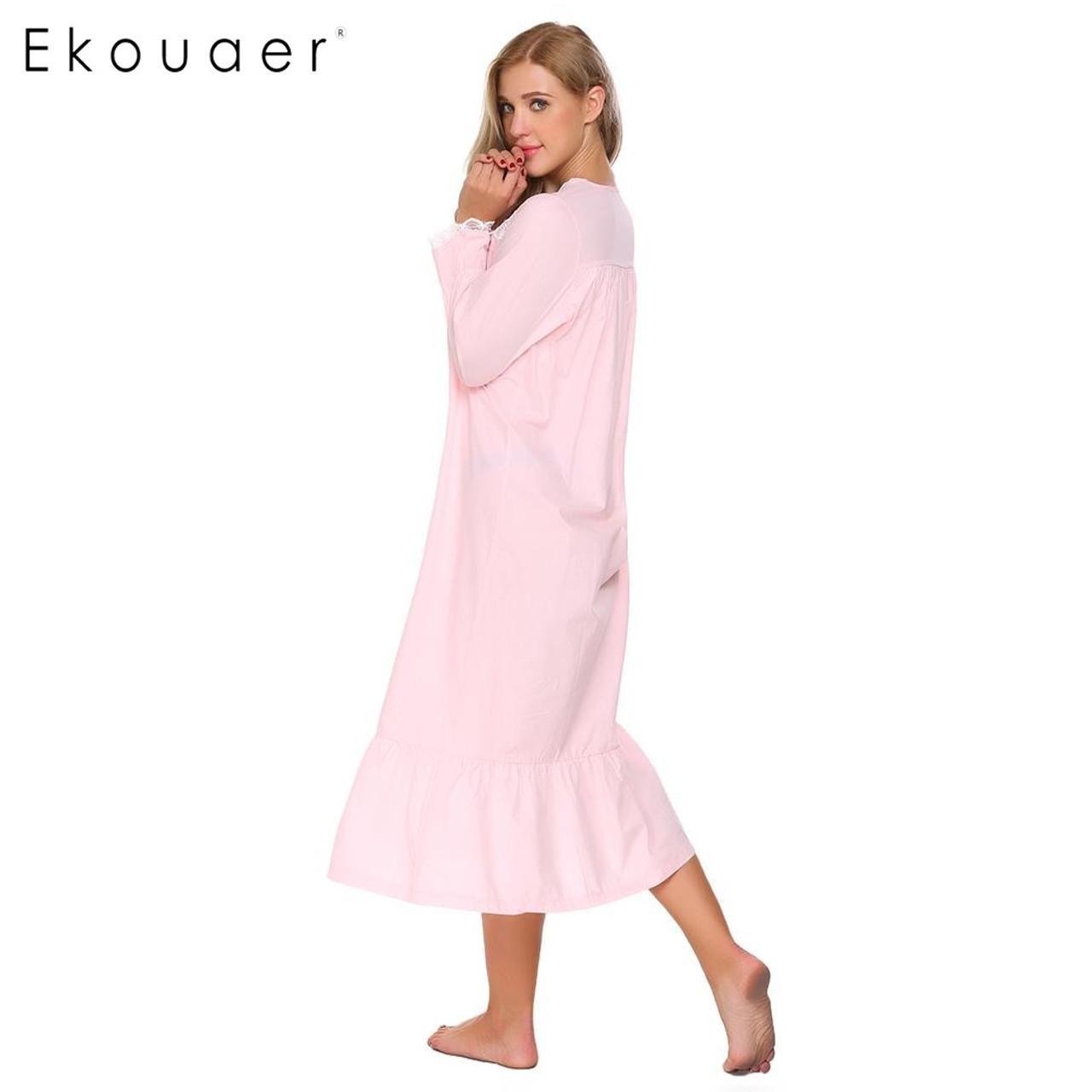 ... Ekouaer Elegant Solid Nightwear Womens Victorian Long Sleeve Sleepwear  Lace Patchwork Ruffled Hem Nightgown Plus Size ... bc1a7d8c1