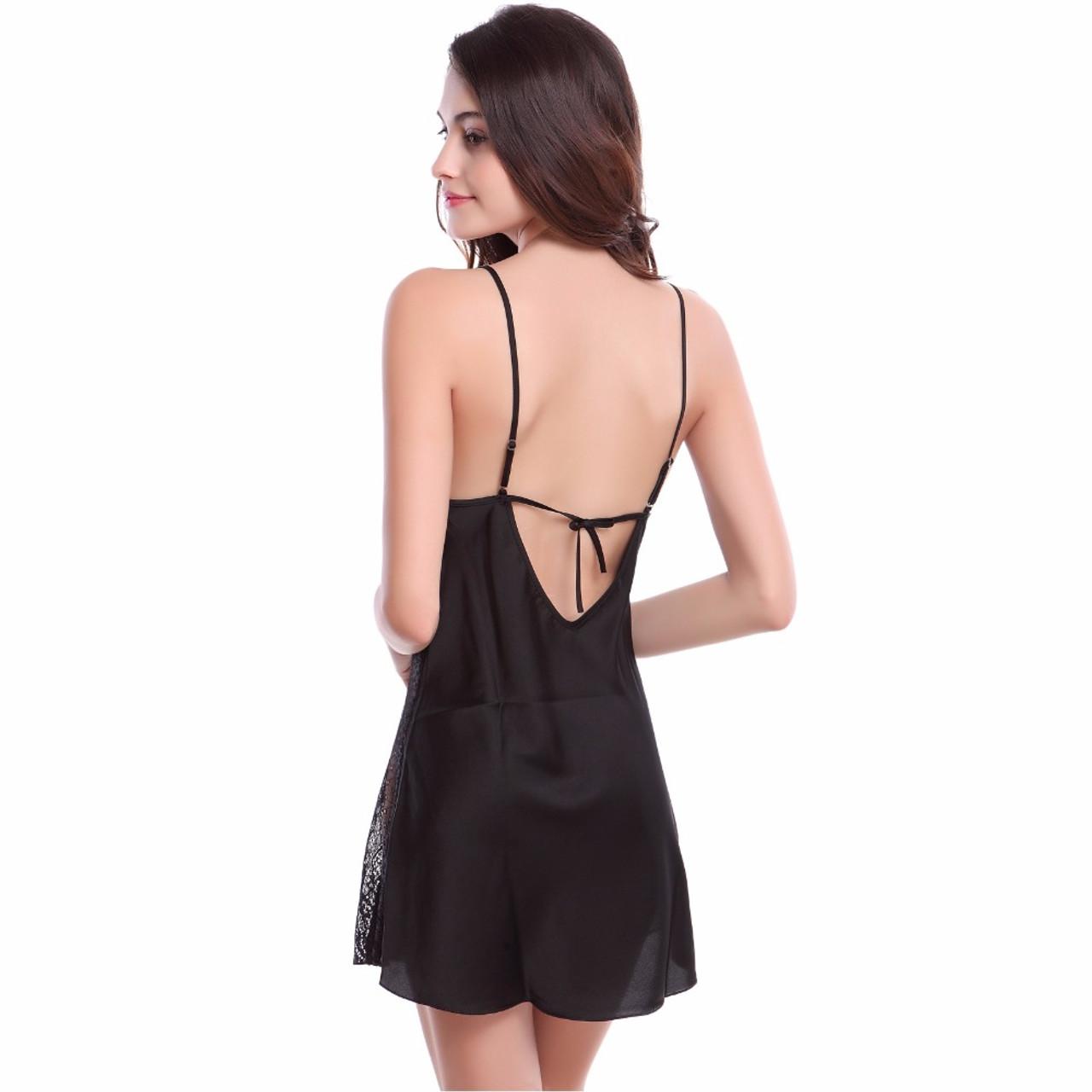 76ef437ef7 ... Solid Satin Chiffon Women Nightgowns Summer Nightdress Sheer Chemises  Nightshirt Lace Sleepwear Sexy Nightwear Trim Nightie ...