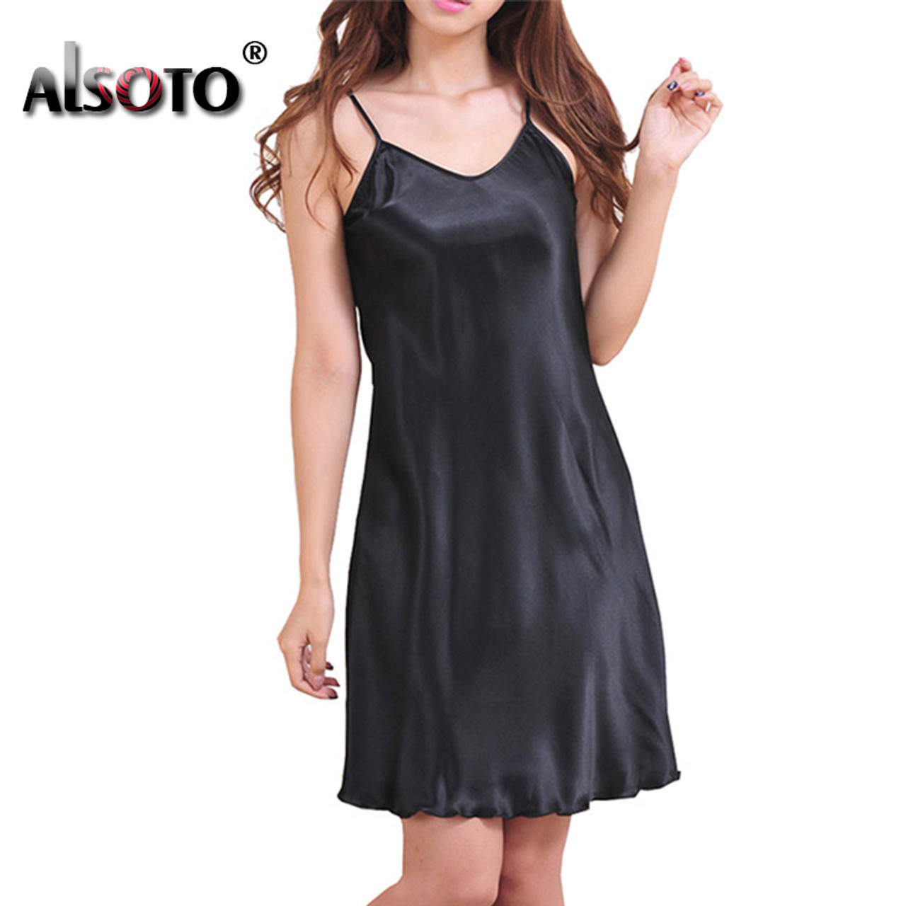 46fabade248 Ladies Sexy Silk Satin Night Dress Sleeveless Nighties V-neck Nightwear For Women  Nightgown Plus Size Nightdress Sleepwear - OnshopDeals.Com