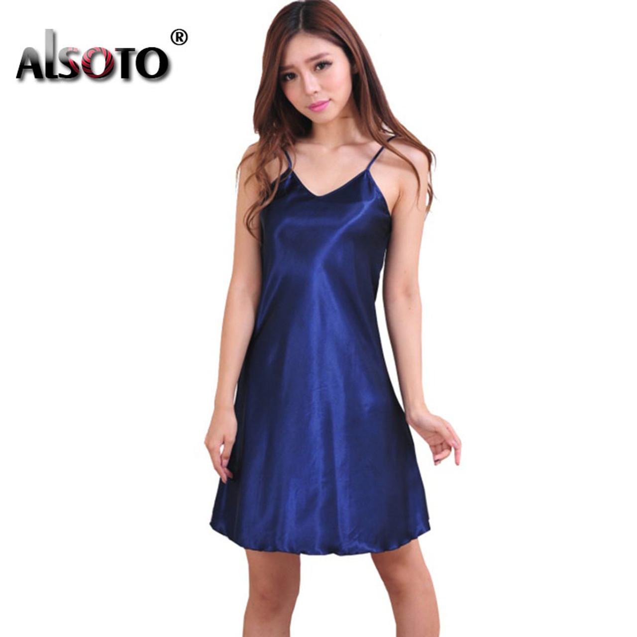 ... Ladies Sexy Silk Satin Night Dress Sleeveless Nighties V-neck Nightwear  For Women Nightgown Plus ... 2cfe501158