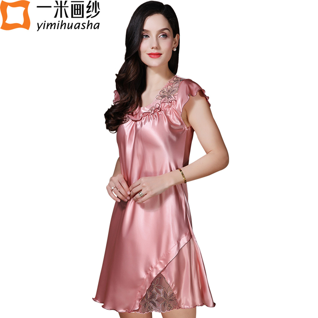 ce610df97c silk satin sleepwear women babydoll sexy lace night wear lotus sleeve  V-neck women s night shirts home dress chemise de nuit - OnshopDeals.Com
