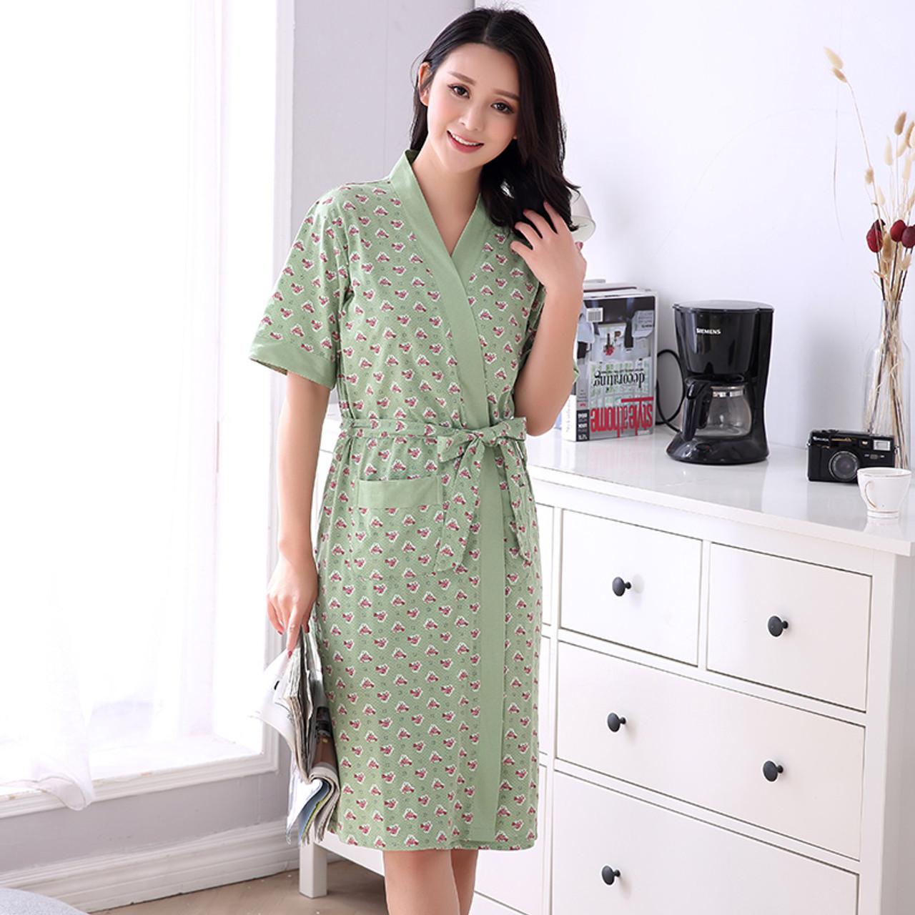 Newest Summer 100% Cotton Nightgown Sexy Bath Robe Women s Sleepwear Small  Floral Sleepshirts Female Home Bathrobe L 77003db5c9